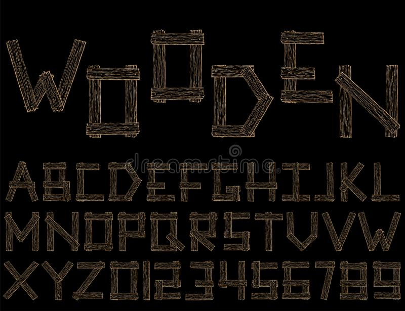 Set of vector wooden abstract font and alphabet stock illustration