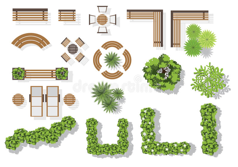 Set of vector wooden benches and treetop symbols. vector illustration