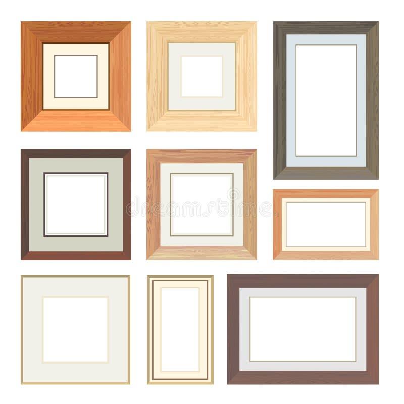 Set of vector wooden frames. For design stock illustration