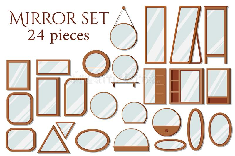 Set of vector wooden frames mirrors of various shapes: round, square, oval, rectangular, floor vector illustration