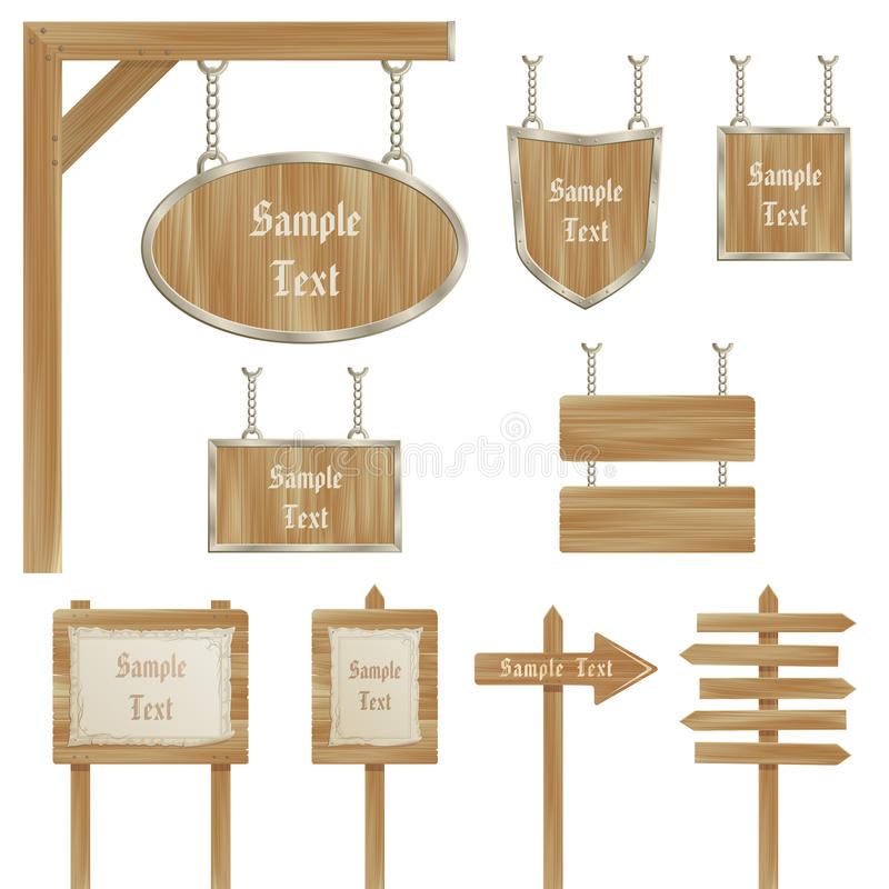 Set of vector wooden sign posts isolated on white royalty free stock photos