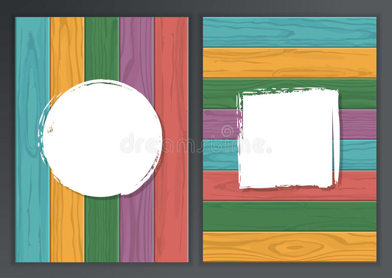 Set of vector wooden texture background with place for text. Horizontal and vertical multicolor wooden boards. Abstract. Illustration, concept for brochure vector illustration