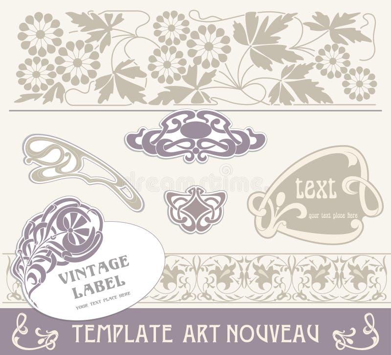 Set Vectors Art Nouveau Royalty Free Stock Photography