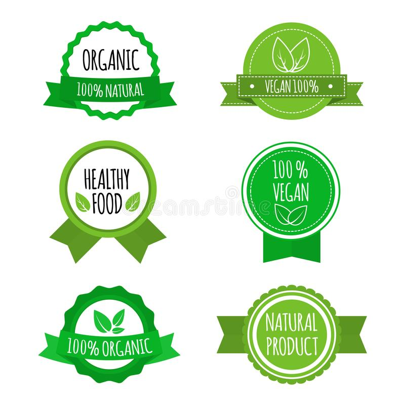Set of vegan badges, icons, labels. Organic, healthy food logos for cafe, restaurants, products packaging. Vector. Set of vegan badges, icons, labels. Organic stock illustration