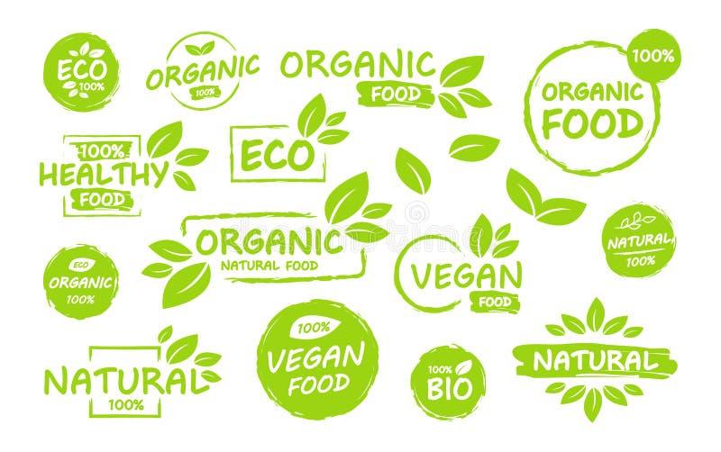 Set of Vegan, eco, bio, organic, fresh, healthy, 100 percent, nateral food. Natural product. Collection of emblem cafe, badges, stock illustration
