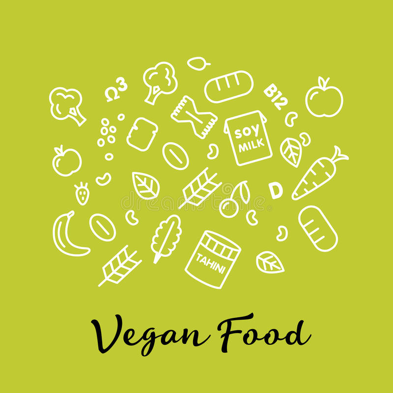Set of the vegan food icons. Vegetables and fruits. Thin line icons. Hand drawn typography. stock illustration