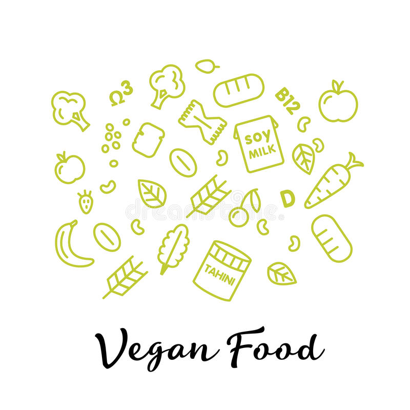 Set of the vegan food icons. Vegetables and fruits. Thin line icons. Hand drawn typography. vector illustration