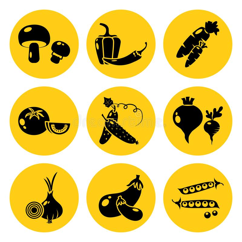 Set of vegetable icons. Black silhouette on bright yellow background. Vector royalty free illustration