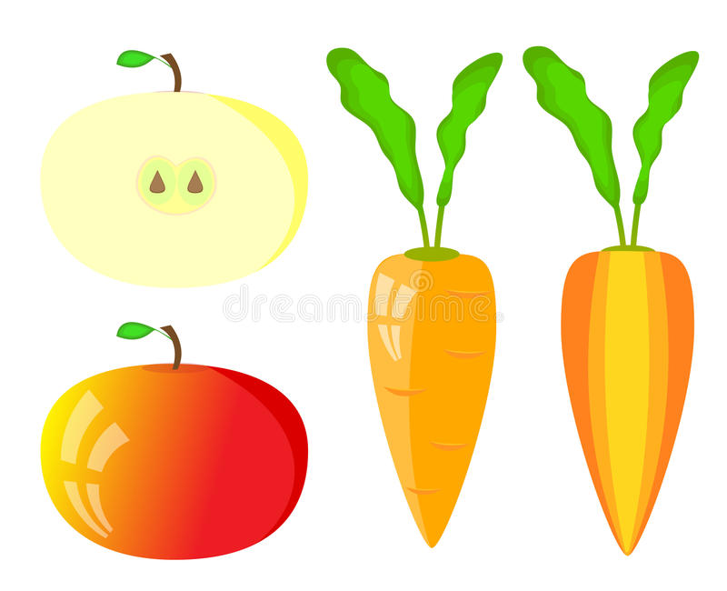 Set of vegetables. Vector apple and carrot inside, outside vector illustration
