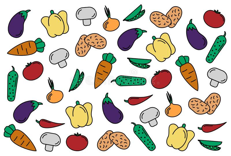 Set of vegetables. ABSTRACT BACKGROUND. set of vector icons vegetables. tomate, cucumber, carrot, peppers, eggplant, pea, onion. royalty free illustration