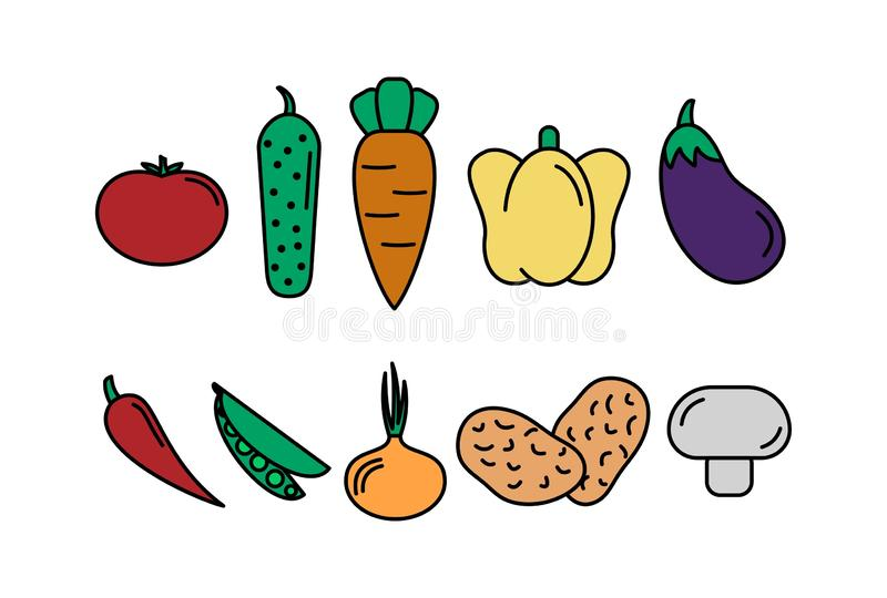 Set of vegetables. ABSTRACT BACKGROUND. set of vector icons vegetables. tomate, cucumber, carrot, peppers, eggplant, pea, onion. vector illustration