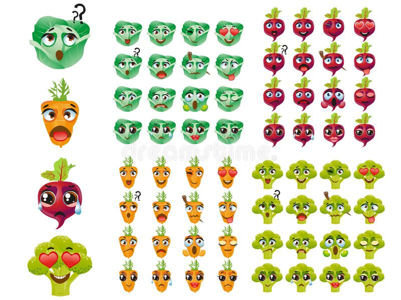 Set of vegetables. Emoji Emoticon Expression. Broccoli, cabbage, carrot, beetroot. Set of vector stickers, emojis with cute broccoli, cabbage, carrot, beetroot stock illustration