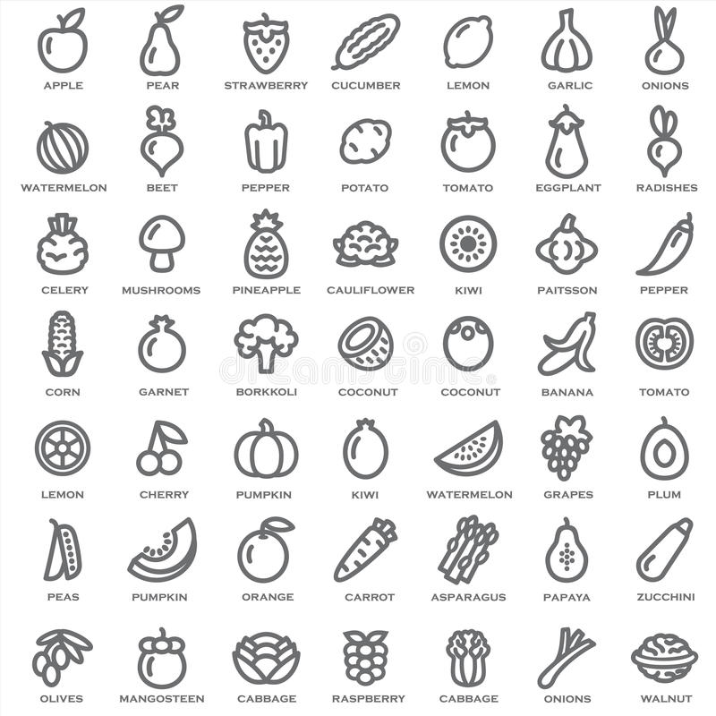 Set of vegetables and fruits outline royalty free stock image