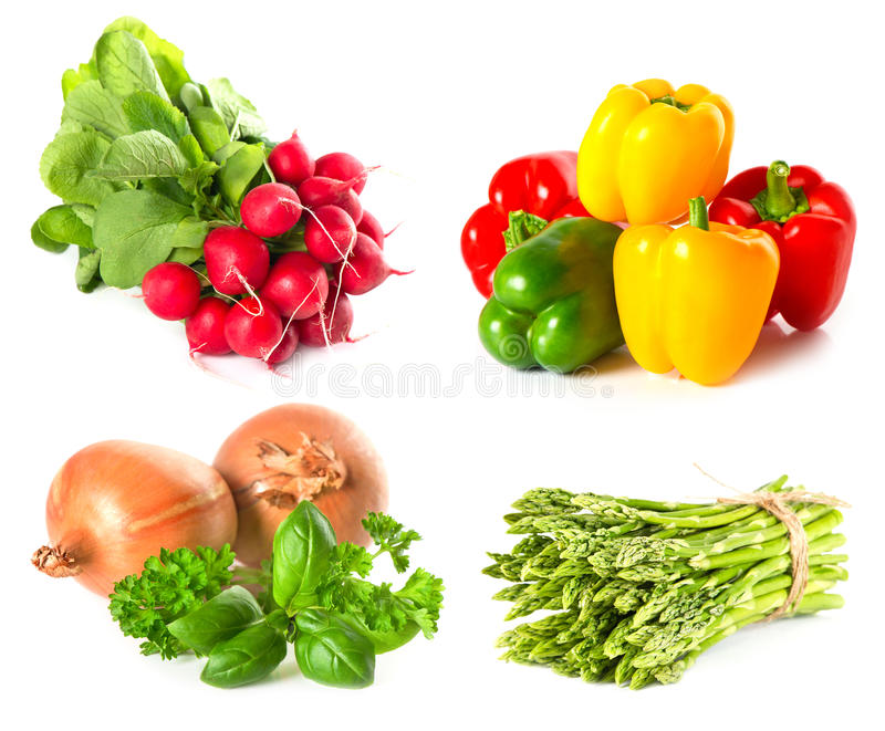 Set of vegetables and herbs on white stock photos