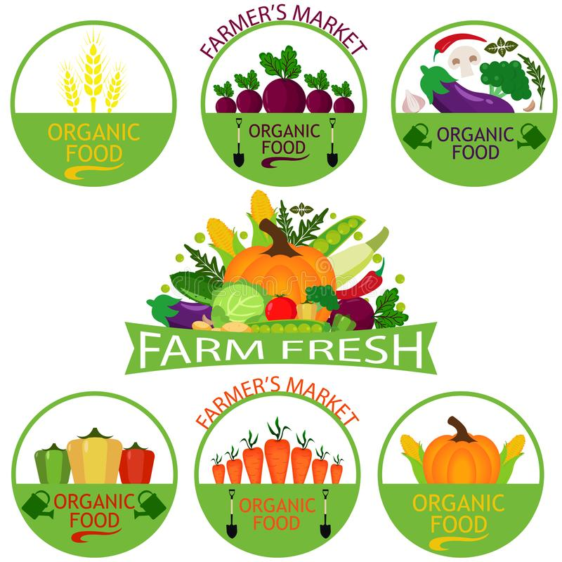 Set of vegetables logo templates. Vegetables labels with sample text.Vegetables icons for groceries, agriculture stores, packaging and advertising stock illustration