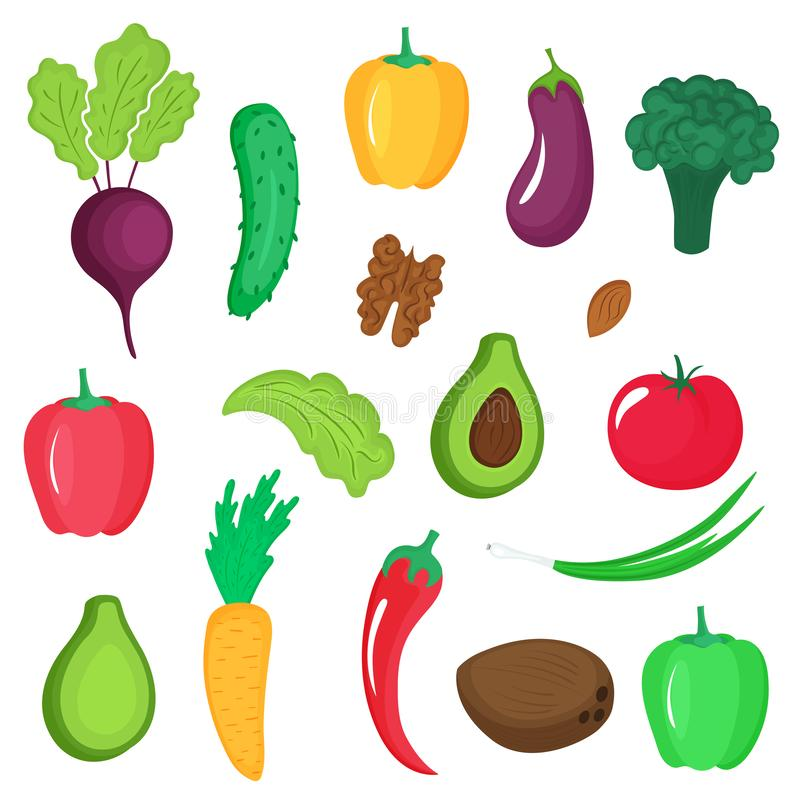 Set of vegetables, roots and nuts. Paprika, avocado, cucumber, broccoli, carrot, eggplant, walnut, coconut, tomato, almond royalty free illustration