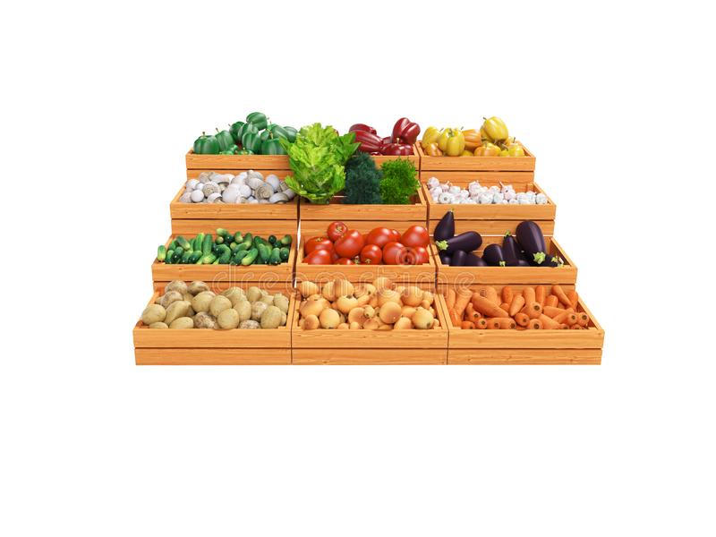 Set of vegetables for sale in wooden boxes 3d render illustration on white background no shadow. Set of vegetables for sale in wooden boxes 3d render vector illustration