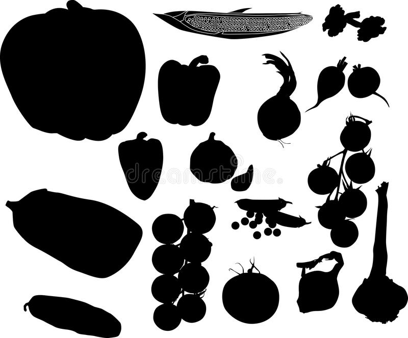 Set Of Vegetables Silhouettes Stock Photo