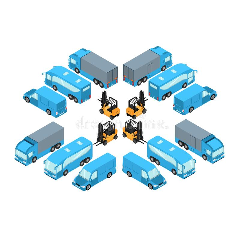 A set of vehicles in isometric style, passenger and freight transport for the transport of goods royalty free illustration
