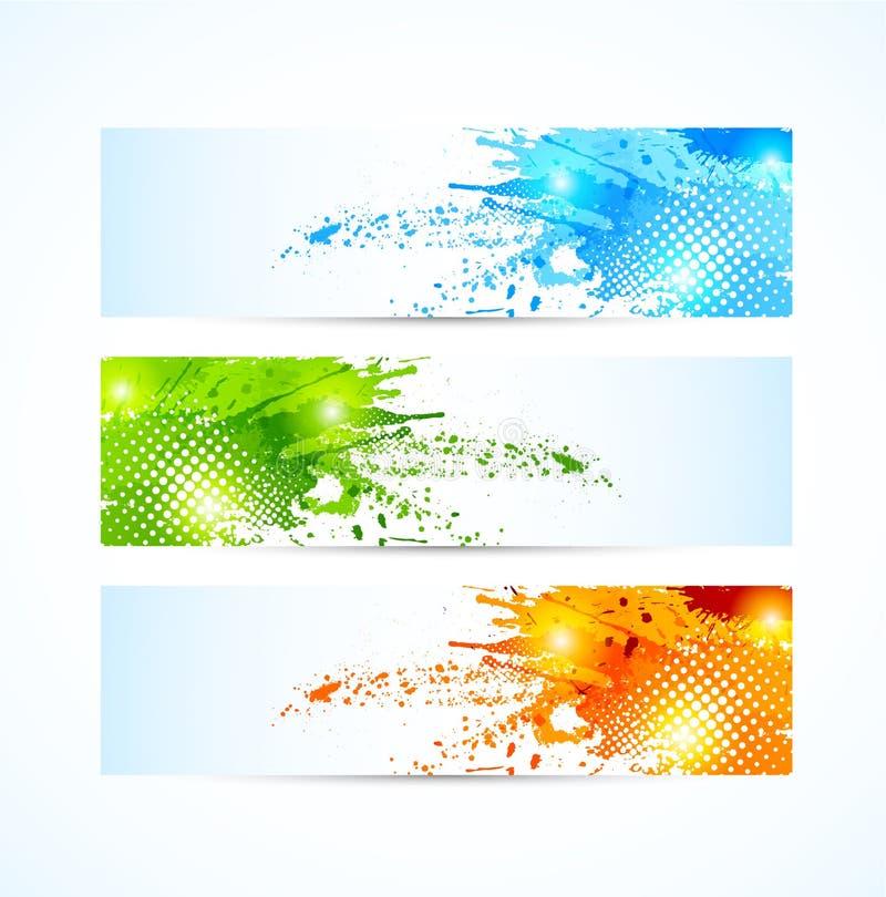 set vektor för banergrungeillustration vektor illustrationer