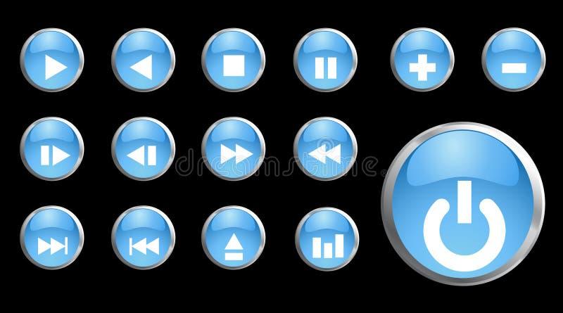 set vektor för blå symbol för knapp 3d stock illustrationer