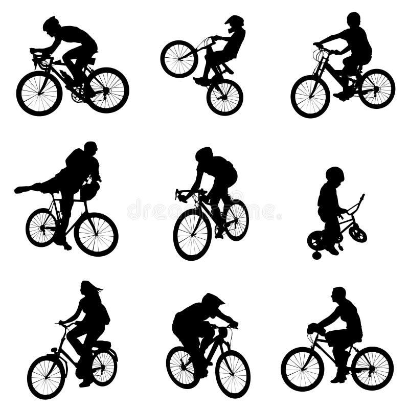 set vektor för cykel vektor illustrationer