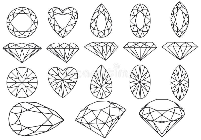 set vektor för diamant stock illustrationer