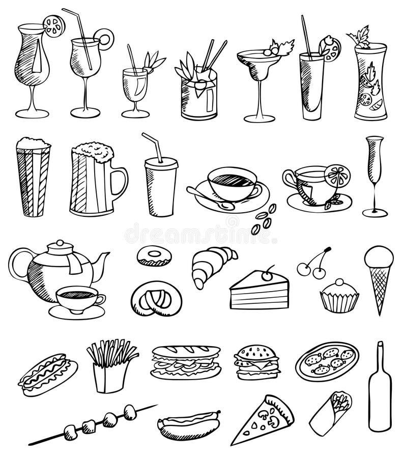 set vektor för drinkmat arkivbild