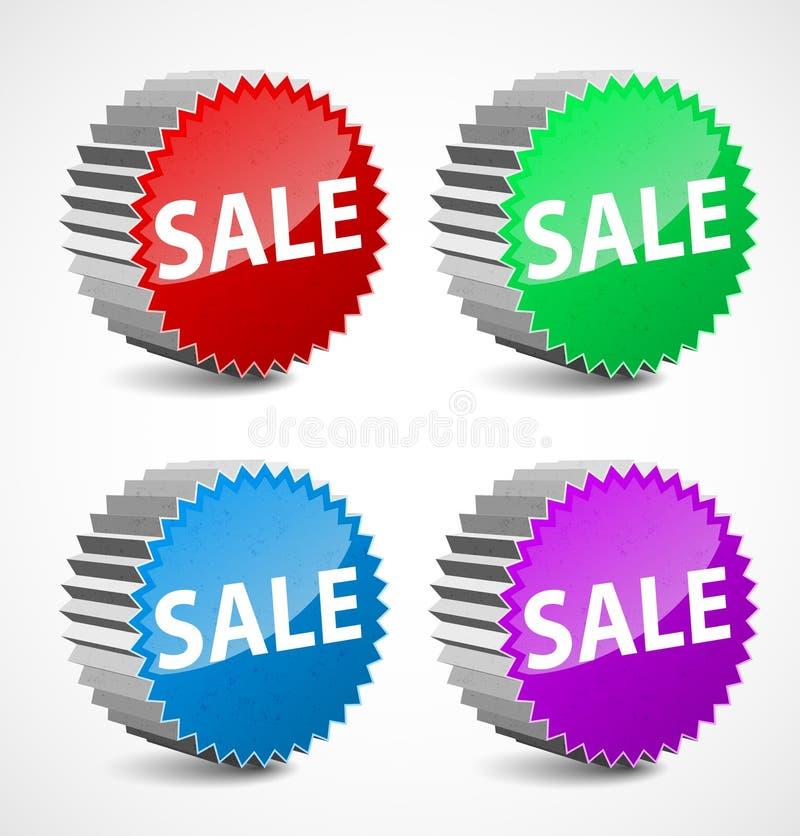 set vektor för färgrik försäljning för etiketter 3d royaltyfri illustrationer