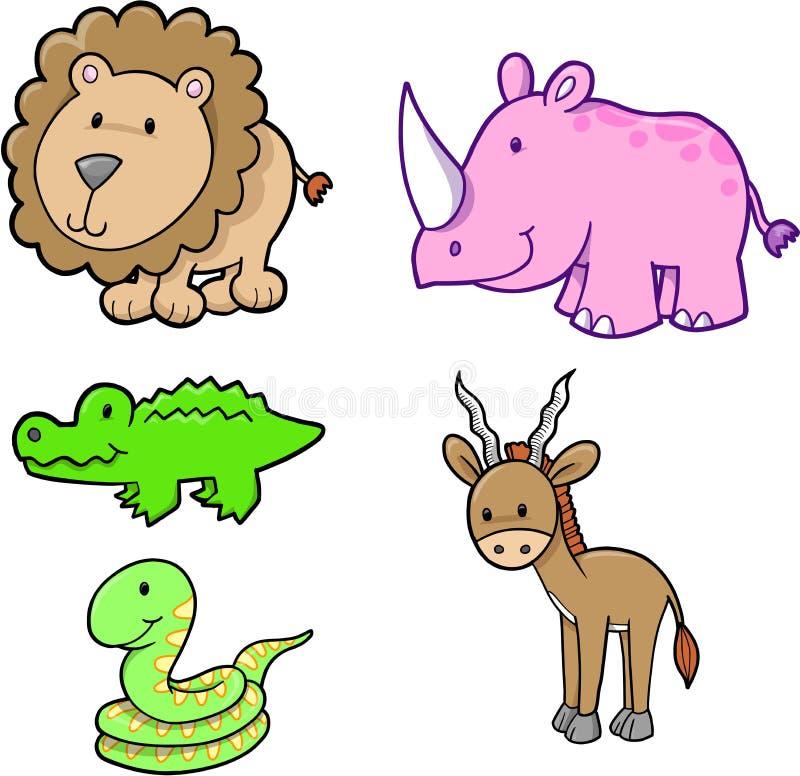 set vektor för gullig safari vektor illustrationer