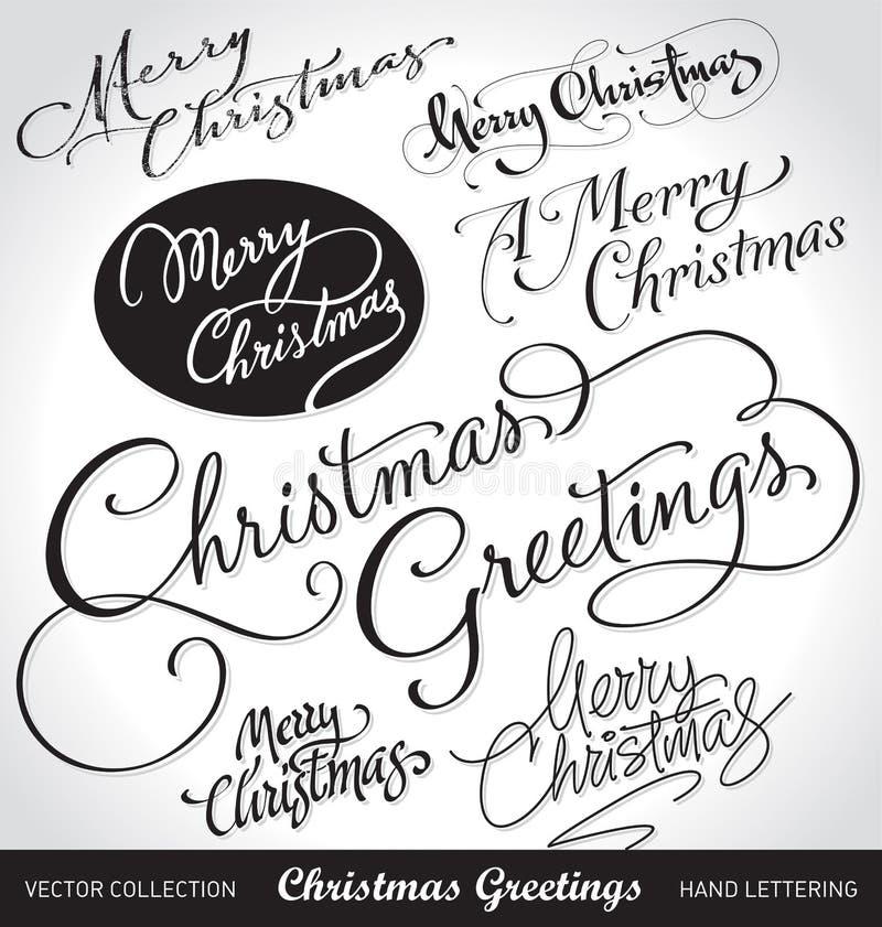 set vektor för julhandbokstäver royaltyfri illustrationer
