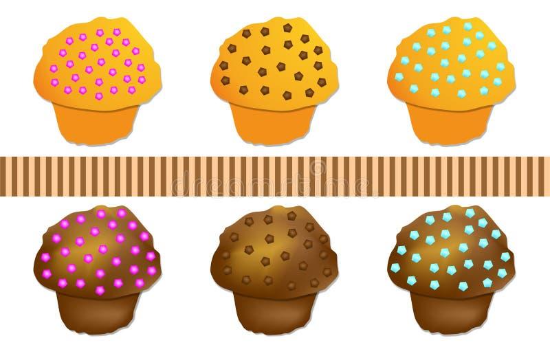 Set vektor för kulör muffin