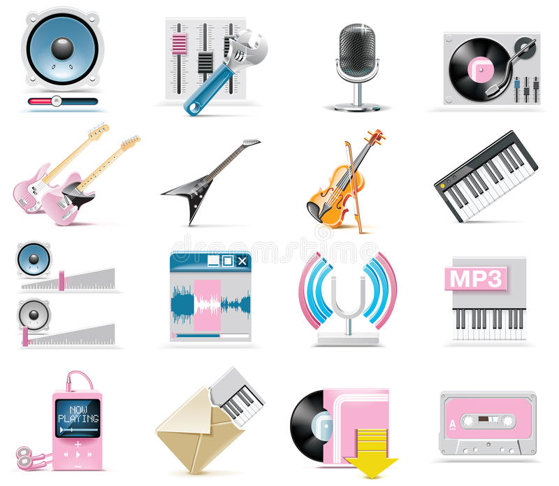 set vektor för ljudsignal symbolsmusik stock illustrationer