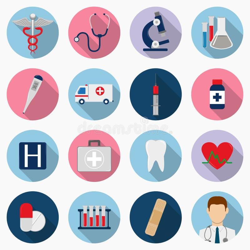 set vektor för symbolsläkarundersökning Sjukvårdsymboler vektor vektor illustrationer