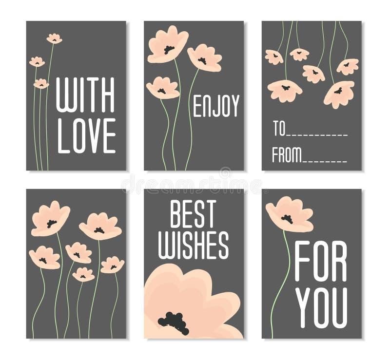 Set vektorabbildungen Vervollkommnen Sie für Glückwunschkarten, Poster, Fahnen, Aufkleber, Aufkleber mit Blumen auf dunklem Hinte stockfotografie