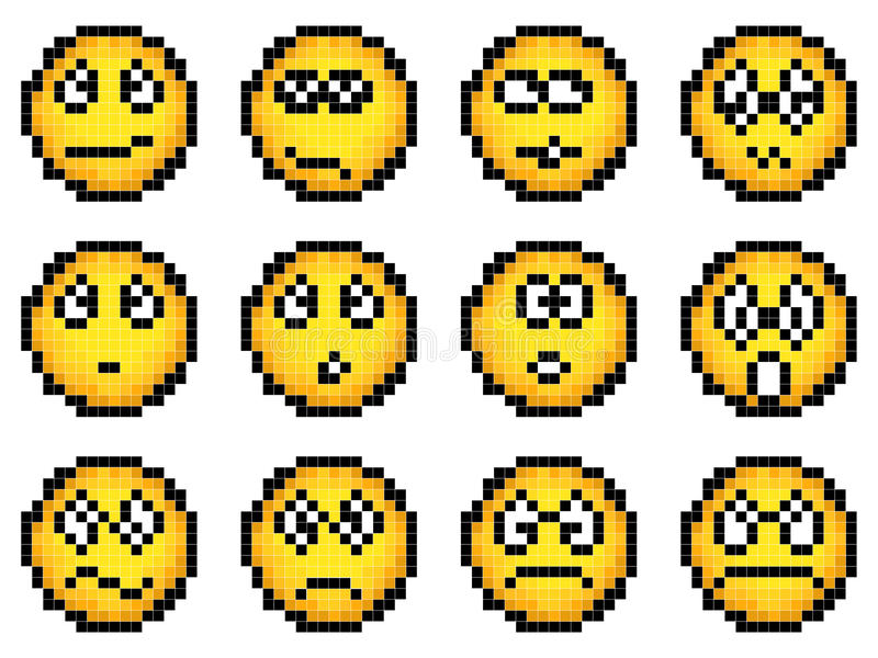 Set vektoreinfacher gelber Pixelsmiley. stock abbildung