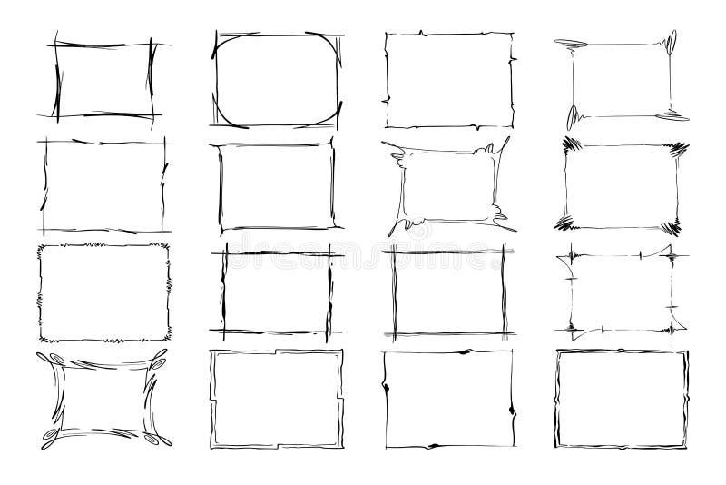 Set vektorfelder Rechtecke für Bild Übergeben Sie das gezogene Schwarze, welches die Grenzen hervorhebt, die auf dem weißen Hinte stock abbildung