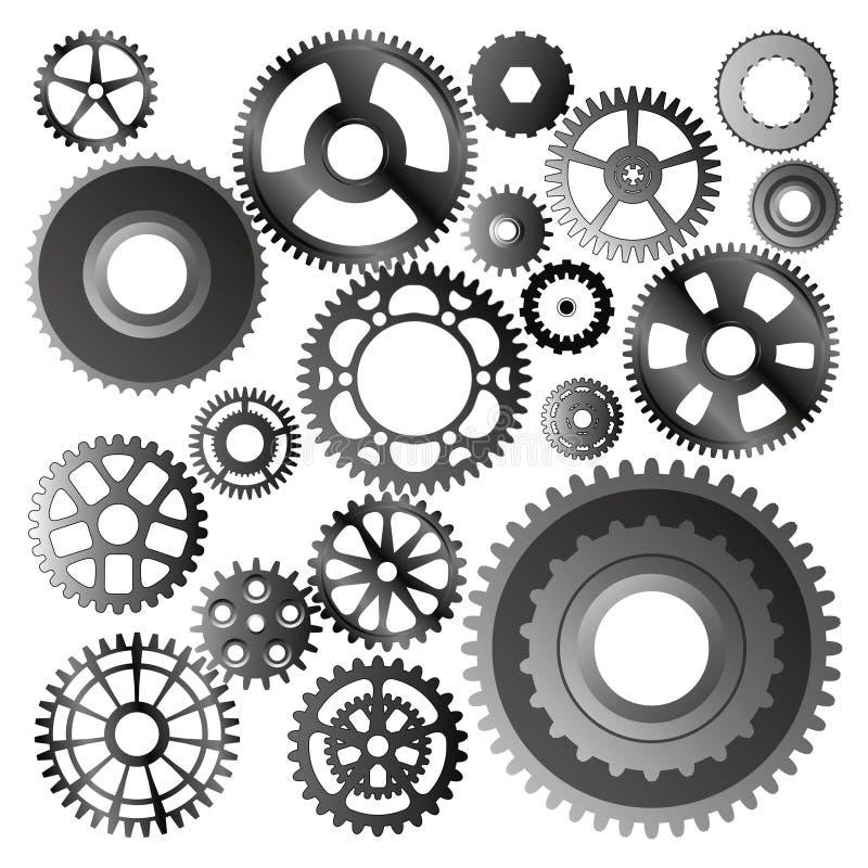 set vektorhjul för kugghjul stock illustrationer