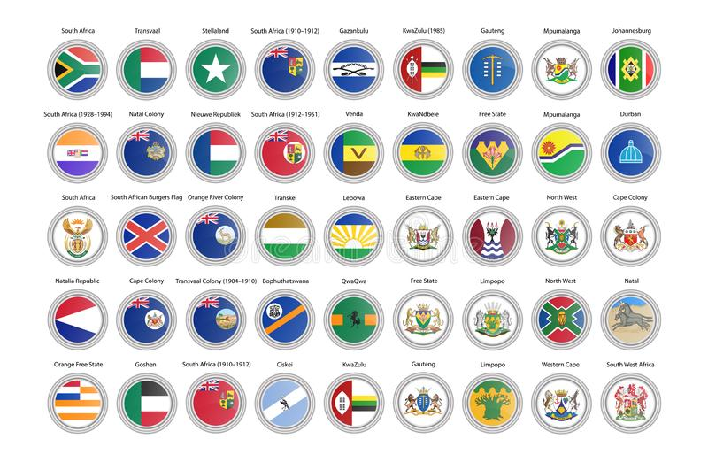 Set vektorikonen Flaggen von Südafrika lizenzfreie abbildung