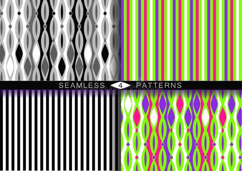 Set vektornahtlose Muster Endlose Beschaffenheiten in Schwarzweiss-rosa UFO-Plastikgrün und in den purpurroten Farben des Protons stock abbildung