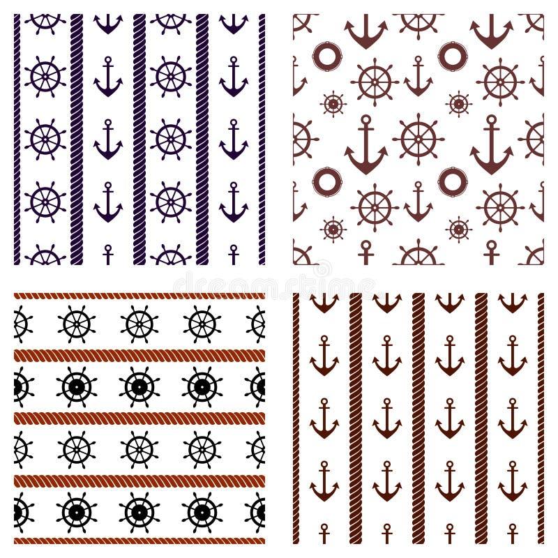 Set vektornahtlose Muster Lenkrad, Schwimmweste, Anker, Seil Kreative geometrische Hintergründe, Seethema Gra lizenzfreie abbildung