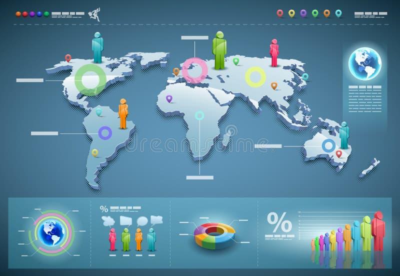 set vektorvärld för infographics royaltyfri illustrationer