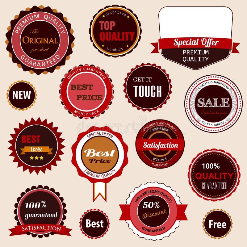Set Verkaufsabzeichen, -kennsätze und -aufkleber lizenzfreie abbildung