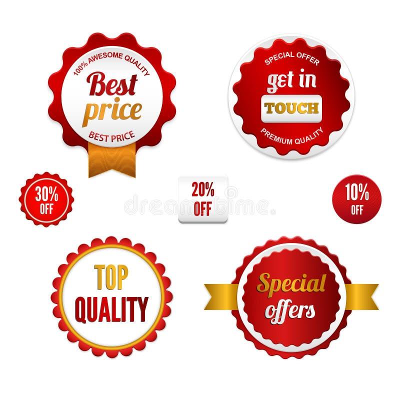 Set Verkaufsabzeichen, -kennsätze und -aufkleber stock abbildung