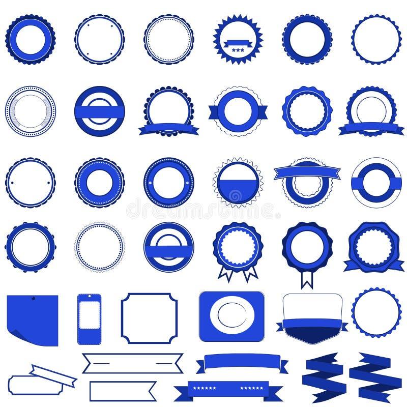 Set Verkaufsabzeichen, -kennsätze und -aufkleber ohne Text im Blau stock abbildung
