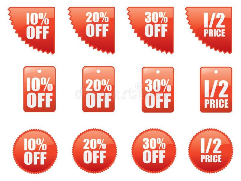 Set Verkaufsaufkleber stock abbildung