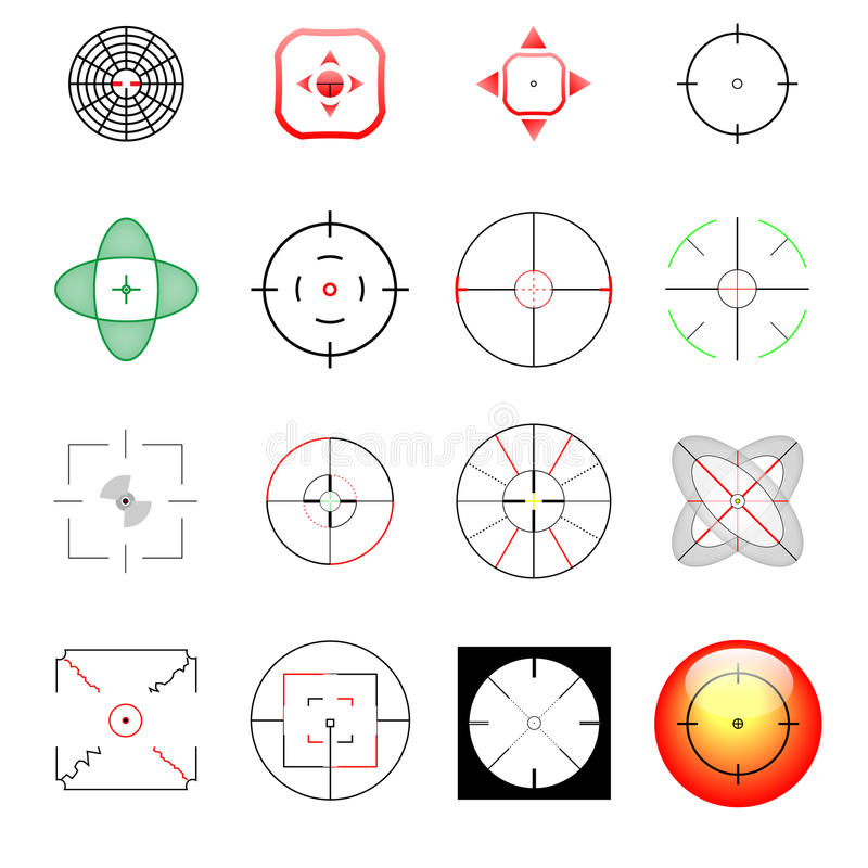 Set verschiedene Fadenkreuze und Ziele stock abbildung