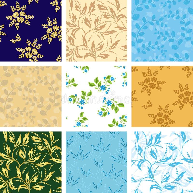 Set verschiedene nahtlose Muster mit Flora stock abbildung