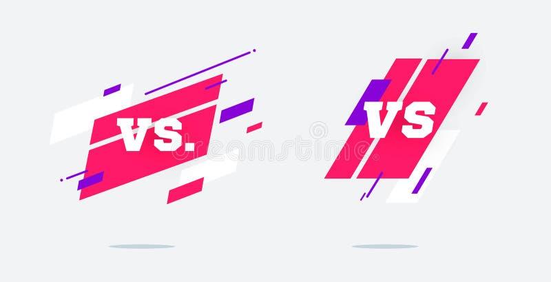 Set versus logo vs listy dla sport?w i walki rywalizacji MMA, bitwa, vs dopasowanie, gemowy pojęcie konkurencyjny vs EPS royalty ilustracja