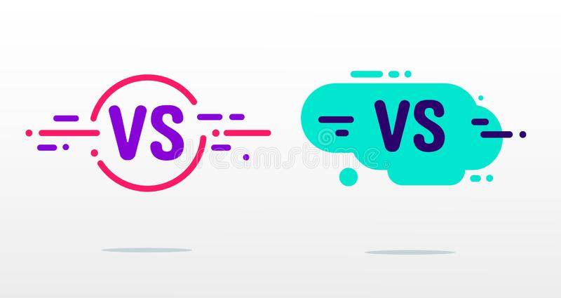 Set versus logo vs listy dla sport?w i walki rywalizacji P?aski prosty projekt MMA, bitwa, vs dopasowanie, gemowy pojęcie ilustracja wektor